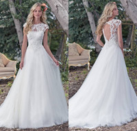 Wholesale Enchanting Wedding Dresses - Elegant Country Style Beaded Lace O-Neck A-Line Wedding Dresses 2017 Enchanting Lace Bodice Tulle Skirt Cap-Sleeves Bridal Gowns