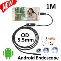 Wholesale Borescope 2m - 5.5mm Lens Android USB Endoscope Camera 2M IP67 Waterproof Snake Pipe Gadget Inspection Android Phone OTG USB Borescope 6LED