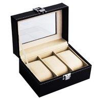 caixas de relógio de luxo venda por atacado-Casos de caixas de relógios de luxo couro preto Fshion - 3 grade de exibição de jóias caixa de armazenamento de coleta de presente Container Watch Organizer Box