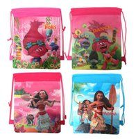 Wholesale Traveling Shoulder Bags - Oceana Moana Trolls Drawstring Backpack Kids Girls Cartoon Shopping School Traveling Bags Non Woven Bags 12pcs lot OOA2299