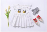 Wholesale Wholesale Childrens Dolls - ins Girls Childrens Baby Dresses Summer Princess Dress for Girls Clothing Cartoon Bee Doll Collar Casual Dresses Boutique Clothes Wholesale