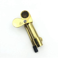 Wholesale Inch Tools - Brass Proto Pipe Vaporizer 3.9 Inch Portable Metal Smoking Pipes Golden Color Ultimate Tool Tobacco Pipes Oil Herb Hidden Bowl