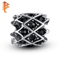 Wholesale Heart Weaves - BELAWANG Silver Plated Big Hole Beads Weaving Charm Beads with Black Cubic Zirconia Loose Beads Fit Charm Bracelets&Bangles Jewelry Making