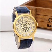 прозрачные кварцевые мужчины оптовых-Новейшие двухсторонние выдалбливают имитация механические часы графический пара кожа кварцевые прозрачные часы женщина мужчина бизнес наручные часы