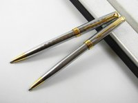Wholesale Blue Pen Parker - Parker Sonnet Stainless Ballpoint Pen +1 Parker Ballpoint Pen Refill