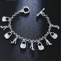 Wholesale ladies bag charm online - best nice Christmas jewelry gift hot sale sterling Silver fashion jewelry Charms bag shoes women ladies bracelet