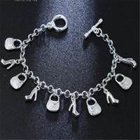 ingrosso vendita di braccialetti di fascino delle signore-il più bel regalo dei monili di Natale vendita calda 925 monili d'argento di modo dei monili incanta i pattini del sacchetto braccialetto delle signore delle donne