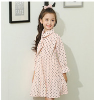 Wholesale New Small Girls Dresses - Big girls princess dress kids cotton polka-dots small scarf long sleeve pleated dress 2017 new autumn children fashion clothes C0715