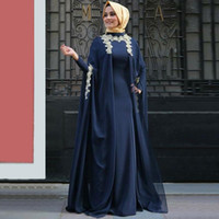 Wholesale Muslim Bride Models - 2017 Navy Blue Arabic Formal Mother of Bride Evening Dresses Fashion Abaya Full Sleeves Muslim Moroccan Kaftan With Hijab Prom Party Gowns