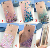Wholesale Moving Case Iphone - Fashion Clear Soft TPU Case Quicksand Little Stars Moving Sand Liquid Shiny Bling Glitter Sparkle Cover for iphone 7 6S Plus