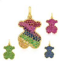 Wholesale Titanium Bling - New Unique design Women Jewelry Titanium Steel excellent quality colorful crystal bling bling panda Pendant osos collar necklace with chain