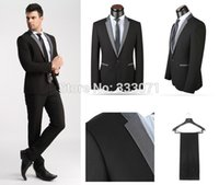 Wholesale Tailored Made Dress Pants - Wholesale- tailor made 2015 Hot Slim fit one Button Groom Tuxedos Best Man Black Light Gray Custom Men Wedding Suits Dress Jacket+Pants+Tie