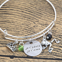 Wholesale French Charm Bracelet - 12pcs Princess and the Frog Inspired bracelets je t'adore je t'aime Love French necklace crystals bangles