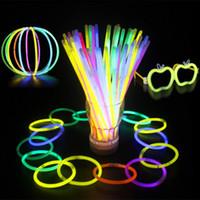 Wholesale Toy Wands - Multi Color Hot Glow Stick Bracelet Necklaces Neon Party LED Flashing Light Stick Wand Novelty Toy LED Vocal Concert LED Flash Sticks JF-082