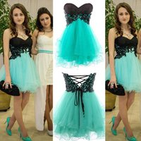 Barato Shorts Turquesa Baratos-Cheap Short Homecoming Vestidos Black Top Sweetheart sem mangas Corset Lace up Voltar Turquoise Tulle Mini Homecomign Dress