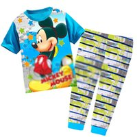 Wholesale 42 Long Suit Blue - The new 2017 children's cartoon pajamas Autumn and winter in Europe and the children's suit 42 pcs lot