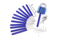 Wholesale top lock picking tools resale online - Top selling Unlocking Lock Pick Set Key Extractor Tool with Blue Practice Padlocks Lock Pick Tools for locksmith