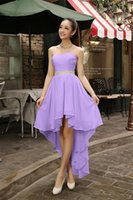 Wholesale High Low Prom Dress Cascade - Cheap Colorful High Low Sweetheart Beaded Bridesmaid Dress Plus Size 2016 Prom Gowns Chiffon Party Dress Short Front Long Back Under 50