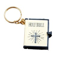 Wholesale Mini Alloy Crosses - 1 Pcs Mini Holy Bible Keychains Cool Male Female Religious Christian Jesus Cross Keyrings Gold Silver Black Color
