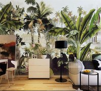 Wholesale plants tree painting for sale - Group buy Custom Photo Wallpaper D Mural Green Coconut Tree Tropical Plant Stereo Oil Painting Background Wall papel de parede