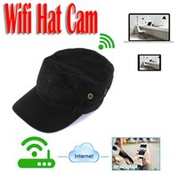 Wholesale Cap Dvr Camera - HD 1280x720 WIFI Spy Hat Camera Hidden Wearable Cap Camcoder wireless Wearable IP P2P DVR