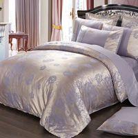 Wholesale bedding sets silk satin purple for sale - Purple flowers Satin Silk Jacquard Bedding Set Home Textile pc Luxury bedclothes bed linen sheet set cotton queen king Size