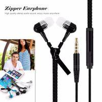 zip kulaklık toptan satış-Zip kulak 3.5mm kulaklık ile mikrofon metal tomurcukları fermuar kulaklık kulaklık için MP3 iphone 6 artı Ipod Samsung htc perakende kutusu ile