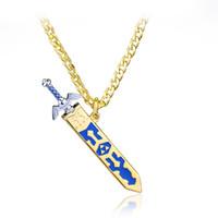 espada dos homens colares venda por atacado-Jogo atacado Legend of Zelda Removível Mestre Espada Colar Pingente de Espada Do Céu Dourado Com Bainha Colar Para Mulheres E Homens