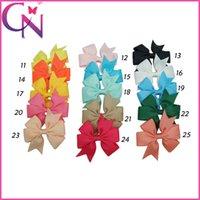 Wholesale Cute Ribbon Bows - 3 inch Cute Pinwheel Hair Bows Solid Grosgrain Ribbon Mini Hair Bow With Alligator Clip For Baby Handmade Girls Hair Accessories