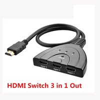 Wholesale Hdmi Cables For 3d - High Quality 3 Port 1080P 3D 4k HDMI AUTO Switch Switcher Splitter Hub with Cable for HDTV DVD 3 in 1 Out hdmi switch