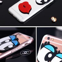 Transprent Cute Mirror 3D Big Eyes avec rouge Lip Acrylic PC Shell TPU Case Cover Skin pour iPhone 8 7 Plus 6 6S SE 5 5S