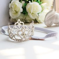 Wholesale Baby Headbands Diamond Rhinestones - Crystal Diamond Girls Headpieces Kids Crown Flower girl Rhinestone Baby Head Pieces Junior Bridesmaid Wedding Accessories Headband A7144