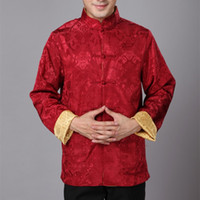 Wholesale Long Sleeve Cheongsam Tops - Wholesale- Cheongsam Top Traditional Chinese Clothing for Men Long Sleeve Male Satin Silk Costume Retro Men Shirt Chinese-suits AF01-BZ