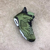Wholesale Man Jacket Fabric - Air Retro 6 Flight Jacket Basketball Shoes Sneakers Men Nylon Army Green Top Quality With Original Box 2017 Newest Drop Shipping