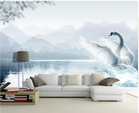 Landscape water white swan tv wall mural 3d wallpaper 3d wall papers for tv backdrop