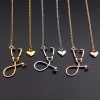 Wholesale necklaces heartbeat - Stethoscope Chain Necklace Rose Gold Gold Silver Nurse Bijoux Collier Femme Heartbeat I Love You Necklaces 162506