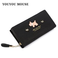 New Fashion Women Matte Leather Wallets Tassel Design Cute Puppy Phone Wallet Longo 2 Dobros Lady Clutch Moneda Carteira Titular