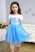 Wholesale Short Blue Skirt Cartoon - 2017 summer cartoon Frozen Princess Dress Girls short sleeve skirt contton Ball Gown for baby kids