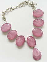 ingrosso perline di pietra acrilica della resina-Grandi perle di cristallo acrilico ovale marblato dichiarazione collana di perle sfaccettate in choker pendente per le donne Gioielli di moda di buona qualità