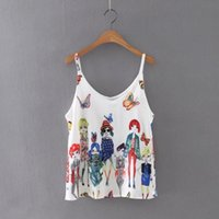 Wholesale Ladies Backless Blouse Style - Wholesale- Summer Style Tank Tops, Women Fashion Leisure Butterfly Beauty Printed Blouse Sexy Backless Condole Tops Ladies Vest Singlets