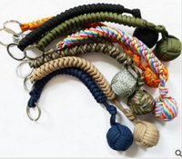 Wholesale Parachute Balls - Braided parachute rope Bracelet Key chain 3.5M Emergency survival Hand Tools key rings seven-core umbrella hand-woven With Steel ball