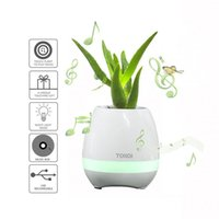 Wholesale Plants Pots Desk - TOKQI Smart Flowerpot Bluetooth Wireless Music Desk Planters - Play music on yr REAL Plants with Colorful Night Lighting Office Bud Poetic