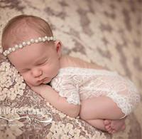 mamelucos del niño lindo petti al por mayor-Mameluco lindo del bebé del bebé del mameluco lindo del bebé recién nacido mamelucos del mono del niño pequeño Ropa de la foto Body de encaje suave 0-3M A08