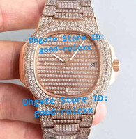 Wholesale Auto Bling - Top Luxury Super Version Mens Automatic Full Gold Bling Diamond Dial Bracelet Watch Men Miyota 9015 - Cal.324SC Nautilus Rhinestone Watches