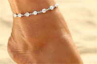 Wholesale Gold Jewely - Vintage Fashion Imitation Pearl Crystal Anklets For Women Stainless Steel Shoe Chain Bracelet Foot Jewelry 2017 Summer Sexy Beach Jewely