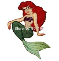"Wholesale Children Iron Sew Patches - 4"" Little Mermaid Ariel Sit Children Kids Movie TV Uniform Embroidered IRON ON  SEW ON Patch Badge children's day gift"