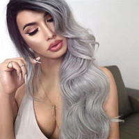 Ombre T1B / Cinza ondulado Peruvian Virgin Hair Unprocessed 150% Density Full Lace Cabelo humano perucas para mulheres negras Bleached Knots Lace Front Wigs