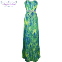 Wholesale Green Peacock Prom Dresses - Angel-Fashions Women's Strapless Sweetheart Peacock Feather Printing Beaded Rhinestones Chiffon Party Dresses Prom Gowns Green A-039GN