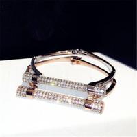 Wholesale Cubic Bangle Bracelets Wholesale - Luxury Crystal Horseshoe Cuff Bracelets Brand Rhinestones Arm Bangles Pulseira Feminina For Women Bijoux NAWEILY Fashion Jewelry