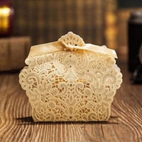 Wholesale Gold Recycled - Wholesale-(25 pieces lot) Wedding Decoration Chocolate Box Red White Gold Color Candy Box Laser Cutting Gift Box For Wedding Favors B002C